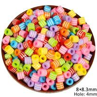 Diy Colorful Beads Striped Loose Charms Cylindrical Jewelry Making Supply 50 Pcs