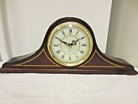 Older Quartz Wood Mantel Clock - Slim Line Style - 4 Metal Toes - AS IS