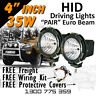 HID Xenon Driving Lights - Pair 4 Inch 35w Euro Beam 4x4 4wd Off Road 12v 24v