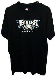 Philadelphia Eagles NFL Majestic Print Logo Black Shirt Men's Size Medium