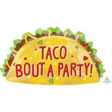 FIESTA TACO BOUT A PARTY FOIL BALLOON MEXICAN DECORATION SUPERSHAPE FOOD 48 X 83