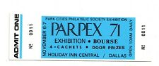 Parpex Philatelic Exhibition Admission Ticket, Dallas, Usa, November 1971.
