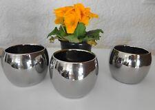 3 Mini Übertopf  Blumenübertopf Kolding silber glänzend Tischdeko