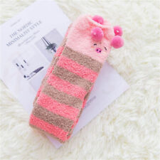 Winter Warm Coral Velvet Striped Knee Thigh High Thick Stockings Animal Socks Pig
