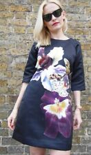 TED BAKER orchid floral print black satin A-line tunic shift dress party 4 14 L