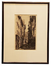 Engraving of British windows buildings medieval street matted and framed art