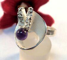 Skurriler moderner Amethyst Ring 925 Silber / bj 313