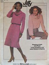 VTG 77 SIMPLICITY 8162 Knit Cowl Neck Top & Flared Skirt PATTERN 10-12/32.5-34B