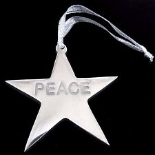 Star PEACE Ornament Silver Metal Package Decor  3.25 inch 8 cm Across