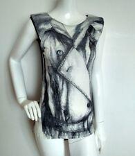 Designer KAREN MILLEN contrast top size 10 --USED ONCE-- print jersey dip hem