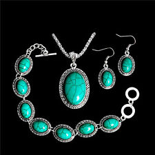 Retro Jewelry Set Turquoise Thai Silver Bracelet Earrings Necklace Women Gift