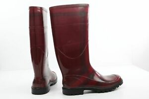 BURBERRY Red Burgundy Rubber Tall Rain Boots Size 37