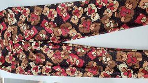 LuLaRoe OS Teddy Bear Love Hearts Red Polka Dots Black Leggings HTF *Valentine*