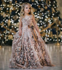 2017 Pink Flower Girl Dresses 3D Flower Applique Pearls Princess Kids Party Gown