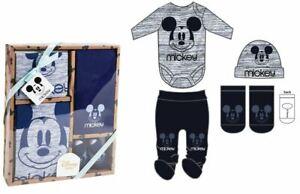 Disney Mickey Mouse Baby Boys Newborn Bodysuit Leggings Hat & Socks Set