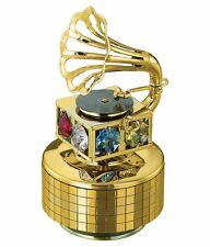 24K Gold Plated Studded Musical Gramophone (Swarovski Crystals) For Gift