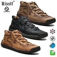 Men's Waterproof Oxford Leather Handmade Driving Ankle Boots Chukka Casual Shoes