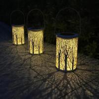 Solar LED Hanging Light Retro Hollow Metal Candle Lantern Garden Yard Decor Lamp