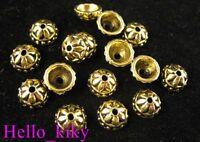 200pcs Antiqued gold plt floral bead caps A530