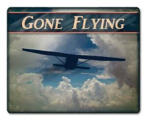 Sign - Gone Flying w/Airplane in Clouds