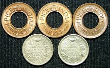 India - 1942 & 1943 1/4 (Quarter) Rupee and 1943, 1944 & 1945 1 Pice - 5 Coins!