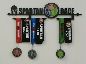 Spartan race Trifecta medal display, rack, holder, black or INOX