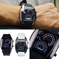Fashion Men's Black Stainless Steel Convenient Sport Analog Quartz LED Wrist Hot