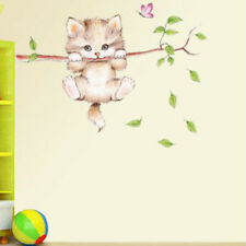 Cute Cat Butterfly Tree Branch Wall Stickers For Kids Rooms Home Decor N7