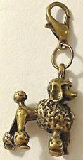 Poodle Dog Pup 3D Bronze Bag Purse Charm Dangle Zipper Pull Jewelry