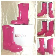 Red Valentino New Sexy Hot Pink Bow Tie Winter Rain Mid Calf Boots Sz 41 10 $495