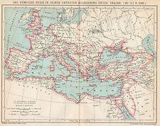 B6311 Impero Romano sotto Traiano - Carta geografica antica del 1903 - Old map