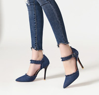 Ladies Denim Pointed Toe Shoes High Heels Pumps Ankle Strap Women Sandals Party