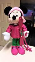 "Minnie Mouse Standing Plush Pink Winter Holiday Door Greeter Ski Gear Disney 24"""