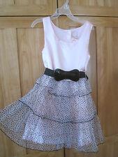 GIRL BLACK POLKA DOTS BOW BELT PINK TUTU SHEER RUFFLES Dress NWT 6