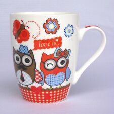 Eulenbecher - rot - Becher / Tasse mit Eule - Eulentasse - Kaffeebecher - NEU