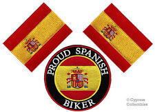 LOT of 3 PROUD SPANISH BIKER IRON-ON PATCH SPAIN FLAG embroidered ESPAÑA
