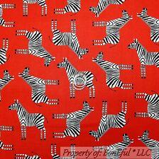 BonEful Fabric Cotton Quilt Red Black White B&W Zebra Stripe Jungle Safari SCRAP