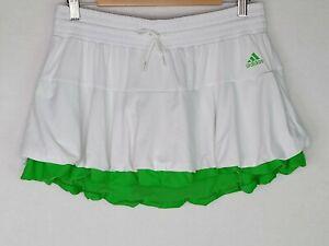 Adidas Adizero Women's Large Pull On Drawstring White/Green Tennis Skort 4827