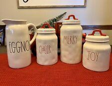 NEW! RAE DUNN MERRY CHEER JOY CHRISTMAS CANISTER SET with BONUS EGGNOG PITCHER!