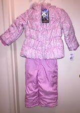 ZeroXPosur Girl's Puffer Jacket & Bib Snow Pant Set Winter PINK/GREY 4T NWT