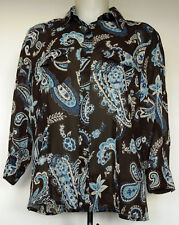 Croft & Barrow Brown & Blue Paisley Button-Front Semi-Sheer 3/4 Sleeve Shirt M