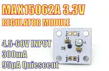 MAX15062A fixed 3.3V 300mA Switched Mode Voltage Regulator. Input: 4.5V - 60V