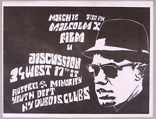 MALCOLM X, 1972 Documentary Film Flyer, New York Screening and Discussion