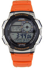 Casio Men's Digital 10-Yr Battery World Time Orange Resin Watch AE1000W-4BV