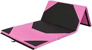 10x4ft 4-Panel Foam Folding Exercise Gym Mat for Gymnastics, Aerobics, Yoga w/Ha