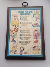 Vintage 1977 Hallmark Wall Plaque Rules For The Rec Room