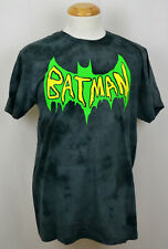 Batman Green Slime Logo T-Shirt DC Comics Superhero Graphic Tee Worn Gray NWT