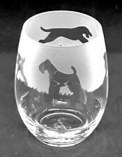 More details for airedale terrier frieze boxed 36cl crystal stemless wine / water glass
