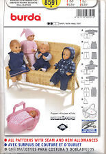 "BURDA SEWING PATTERN 8591 BABY DOLL CLOTHES SZ M(16-18"") & L(20-22"")  & CARRIER"