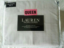 RALPH LAUREN QUEEN Tan Cross Print 4 PC SHEETS SET